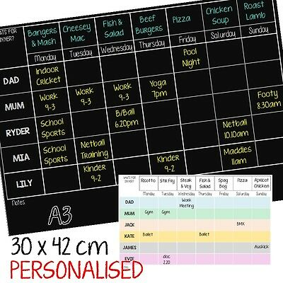 A3 Dry Erase Magnetic Family Planner | white or black available