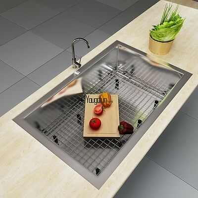 """Top 28/32"""" Stainless Steel Curve Apron Kitchen Farm Sink Combo HE"""