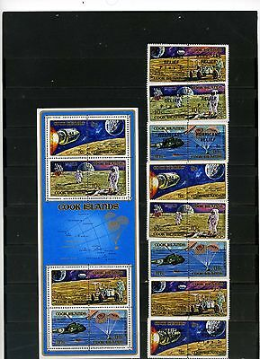 Cook Islands 1972 Space/moon Exploration 2 Sets Of 8 Stamps & S/s Mnh