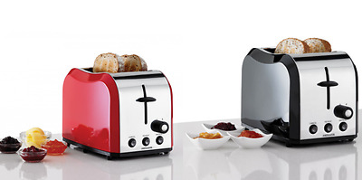 Heller Stainless Steel 2 Slice Toaster browning control, crumb tray Black or Red
