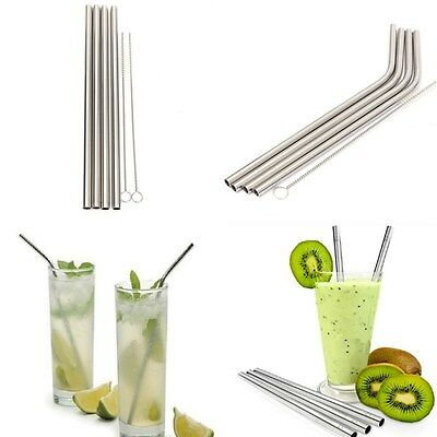 4pcs Reusable Metal Stainless Steel Drinking Juicr Straws with 1pc Cleaner Brush