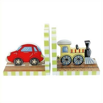 Fantasy Fields Transportation Set of Bookends Solid Wood Hand Carved Decorative