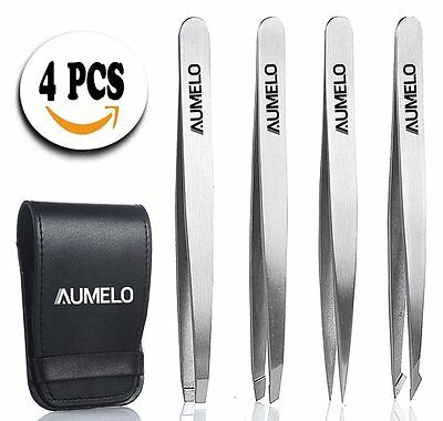 Tweezers Set 4-Piece Professional Stainless Steel Tweezers with Travel Case by -