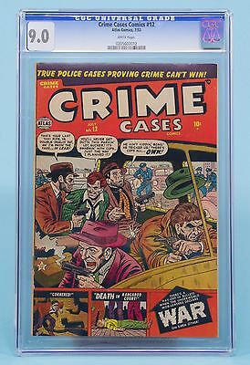 CRIME CASES#12 CGC 9.0 1952 Atlas Comics White Pages! Highest Graded!