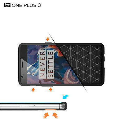 Hybrid Hard Bumper TPU Rubber Back Case Cover For Oneplus 3 3T Tempered Glass