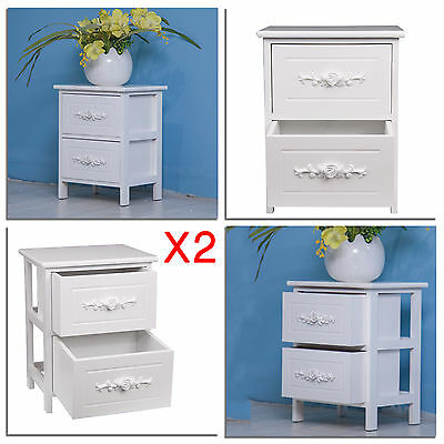 2 X Shabby Chic Rose Two Drawer Bedside Table White Storage Drawers Furniture