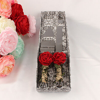 Stainless Wedding Party Cake Knife & Flax Rope Twine Wrapped Handles Red Rose