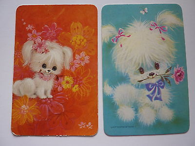 1970'S BLANK BACK PUPPY DOG FLOWERS #2 Genuine SWAP PLAYING CARDS **ONE OFF**