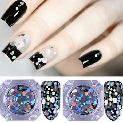 BORN PRETTY 2Boxes Nail Glitter Sequins Holographic Flakes Laser Nail Art Tips