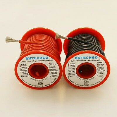 BNTECHGO 14 AWG Silicone Wire Spool 50feet RC CABLE LEAD 25ft Black and 25ft Red
