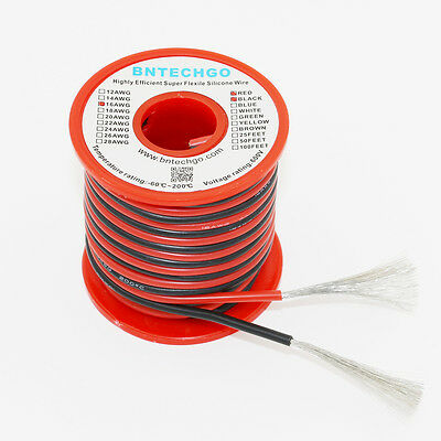 BNTECHGO 16 AWG Silicone Wire Spool 50feet RC CABLE LEAD 25ft Black and 25ft Red