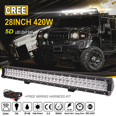 28Inch 420W Cree Led Light Bar Spot Flood Work Offroad Driving Truck Suv Atv 4X4