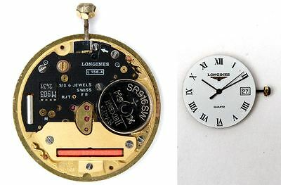 LONGINES L156.4 original quartz watch movement eta 255.411 working (5254)