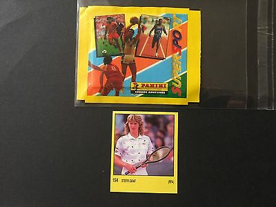 1987-88 STEFFI GRAF card # 154 + empty packet. PANINI. SUPERSPORT. SPAIN