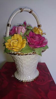Royal Albert Musical Floral Basket with Handle Old Country Roses 2006