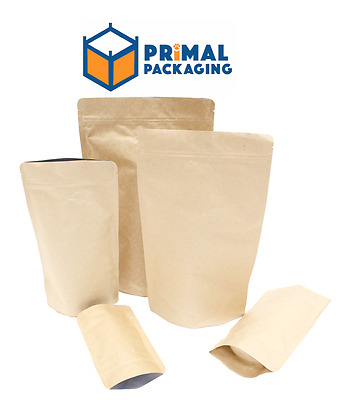 100 x Kraft Stand Up Pouch with Aluminium Inner Barrier - FOUR SIZES AVAILABLE