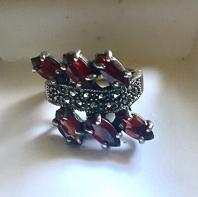 Vintage Stunning Marquis Cut Garnets in a Marcasite Setting 925 Silver Ring