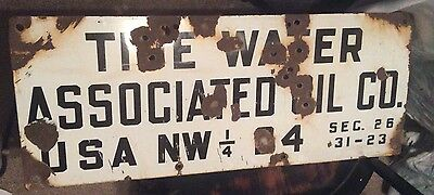 30x12 Tidewater Associated Oil Co Sign Oil Well Veedol Tydol Flying A Porcelain