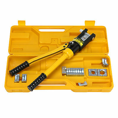 16 Ton Hydraulic Wire Battery Cable Lug Terminal Crimper Crimping Tool w/ 11Dies