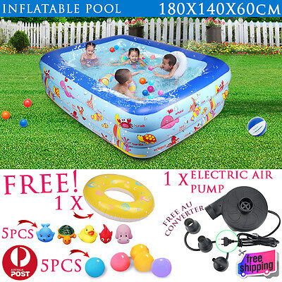 3 Rings Inflatable Swimming Pool Kids Toddler Ball Sand Pit Free Air Pump 180cm