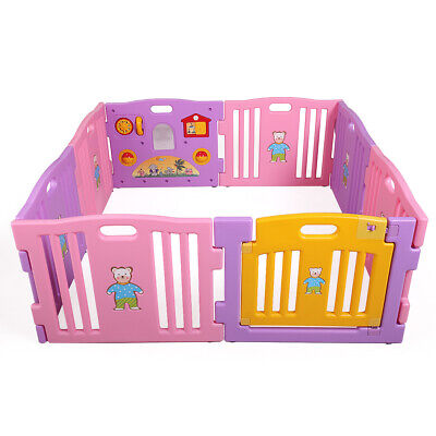 996a5d209694b Baby Playpen 8 Panel Kids Safety Play Center Yard Home Indoor Outdoor Fence  Pink