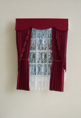 Dolls House Curtains Maroon Swag Effect
