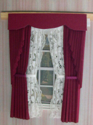 Dollshouse Curtains Maroon Swag With Tied Nets
