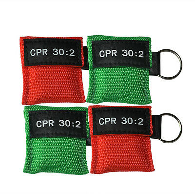 100 pcs/Set Red&Green CPR Face Shield Keychain CPR Masks First Aid AED Training
