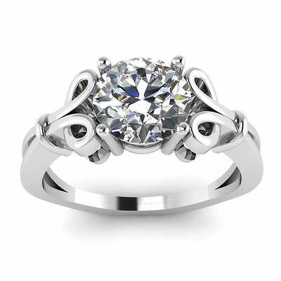 1.80CT Off White Moissanite Round Art Deco Engagement Ring 925 Sterling Silver1