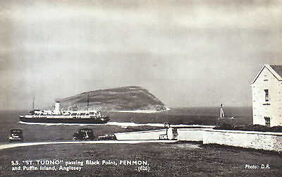 Old postcard : SS St Tudno passing Black Point & Puffin I, Anglesey 1940s - SALE