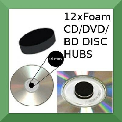 (Blu-Ray/DVD/CD/Game) 12 X FOAM HUBS DISC DOTS [Holds 1 disc] Black