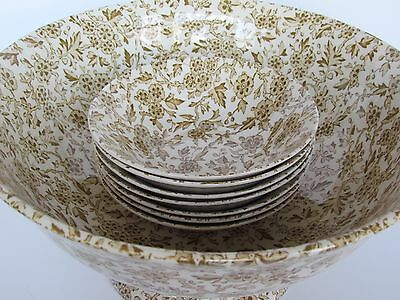 Arden Burleigh Staffordshire Bowl Set Large & Seven (7) Small In Brown England -