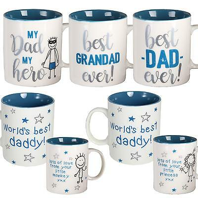 Gift Boxed White Mug with Blue Writing - Fathers Day - Choose Design