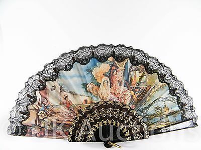 Vintage Folding Hand Fan Spanish Design On Material - Portable