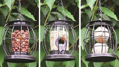 Set of 3 Hanging Lantern Wild Bird Feeders Seeds Nuts & Fat Balls Squirrel Guard