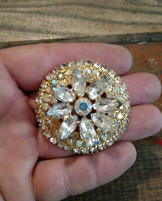 Stunning Vintage Huge Rhinestone Flower brooch estate find