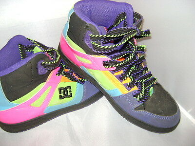 Women's DC Rebound Hi Leather High Top SKATE Shoes NEON Multi-Color SIZE 10