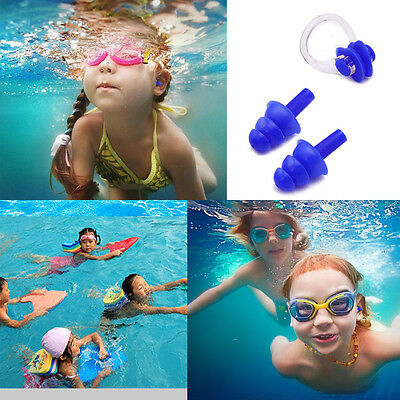 Soft Kids Blue Swimming Diving In Ear Plugs And Nose Clip Set for Under Aged 10