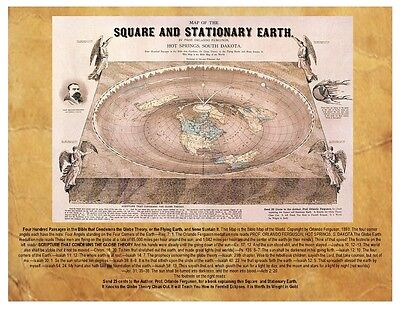 Flat Earth Map Square & Stationary Earth by Orlando Ferguson 1893, 8X10 + Info