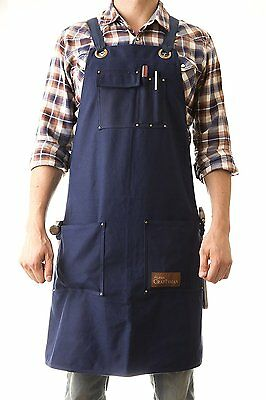 Heavy Duty Waxed Canvas Work Apron Classic Blue with Pockets - Size up to XXL -
