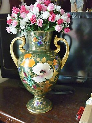 Antique 19th century English Staffordshire large pottery vase hand painted