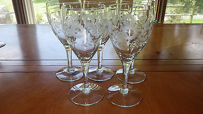 Vintage Wheel Cut Wine Glasses by Morgantown Glass Company 5 10 ounce elegant gl