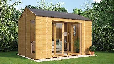 12 x 8 Wooden Garden Summerhouse Sunroom Cannes With French Doors