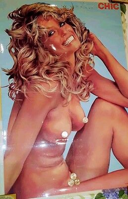 NEW RARE '77 CHIC MAGAZINE FARRAH FAWCETT POSTER NUDE NAKED ART charlies Angles