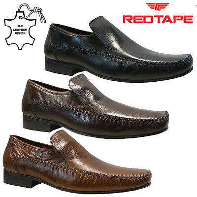 Mens Red Tape Real Leather Slip On Casual Formal Smart Work Oxford Shoes Size