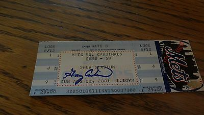 Gary Carter Autographed Baseball Ticket Ny Mets Vs. Cardnals 8/12/2001