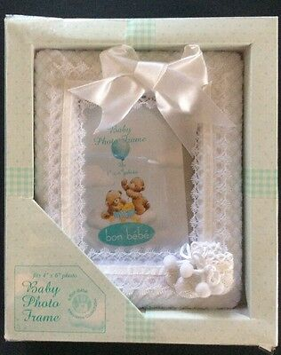 Bon Bebe Baby White Picture Frame With Booties-Boy or Girl-4X6-New In Box