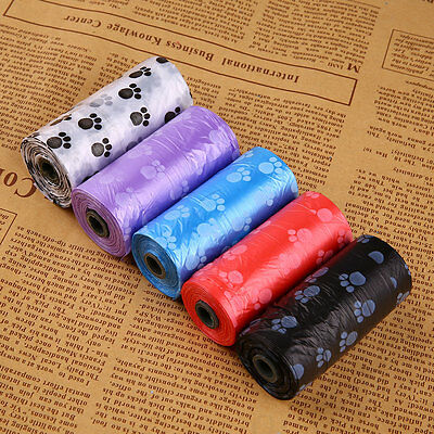 5 Rolls/75Pcs Printed Dog Waste Clean Poop Refill Bags Pick Up Pet Supplie