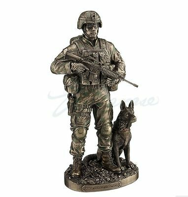 US Army Soldier W/Dog - Honor And Courage Statue Sculpture Figurine - New in Box