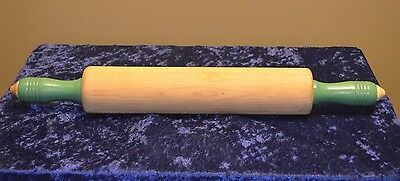 "Vintage Munising Green Handled 18"" Wooden Rolling Pin- c.1940's Very Nice Shape!"